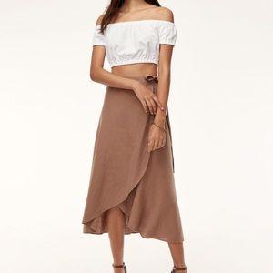 Aritzia Eleta linen wrap skirt - Nutmeg